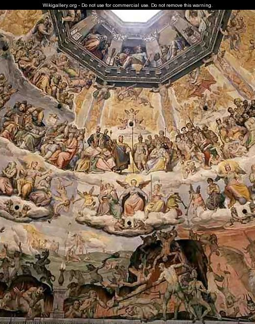 The Last Judgement, detail from the cupola of the Duomo ...