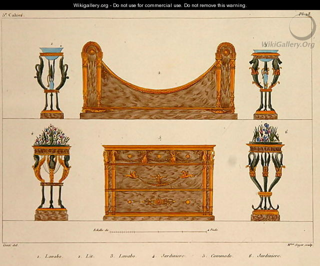 Furniture designs engraved by mme soyer plate 28 from for Le meuble villageois furniture