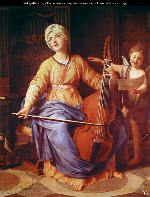 St. Cecilia - Nicolas Colombel - WikiGallery.org, the largest gallery ...