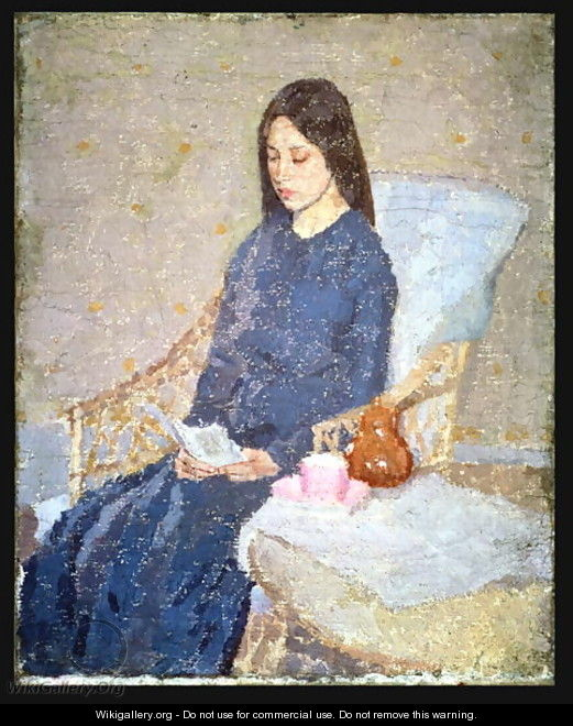 Young Woman Holding A Piece Of Sewing - Gwen John