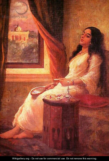 A painting by raja ravi varma hamsa damayanthi. Princess stock.