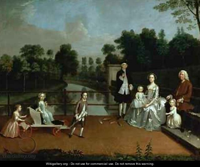 A family group on a terrace in a garden arthur devis for Kids on the terrace