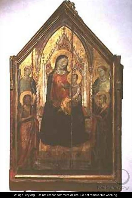 a report on the giotta madonna enthroned painting Cimabue, madonna enthroned with angels and prophets, ca 1280-1290 tempera on wood, 12' 7 x 7' 4 galleria degli uffizi, florence (gardner's art.