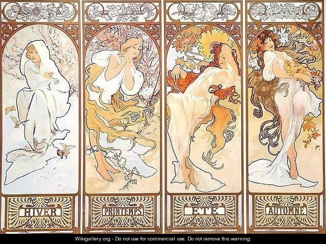 Four Seasons - Alphonse Maria Mucha - WikiGallery org, the