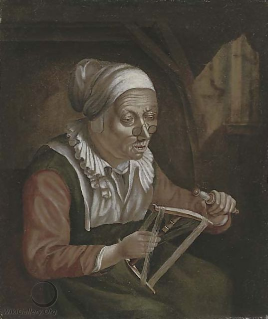Reeling cotton - (after) Judith Leyster - WikiGallery org