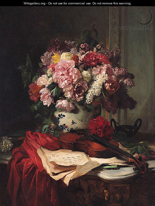 Roses Peonies Lilac And Other Flowers In A Ceramic Vase Behind A Violin And Music Score