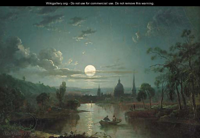 A Moonlit River Landscape With Figures In A Boat A City