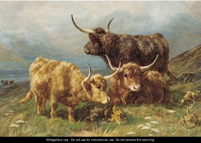 Highland Cows Painting Lack White Brown