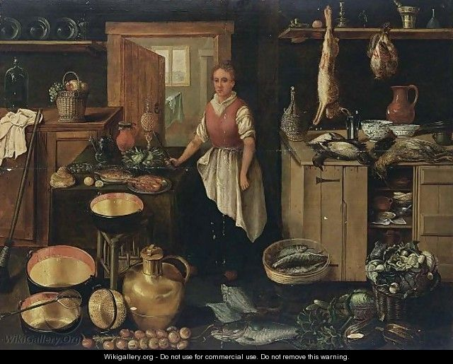 A Kitchen Interior With A Maid A Still Life Of Pots And
