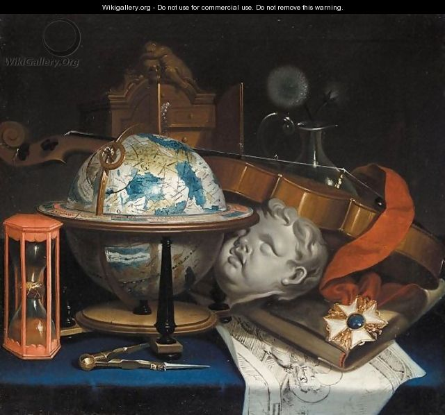 Still life with a globe a violin hourglass and an order after simon renard de saint andre - Vanite simon renard de saint andre ...