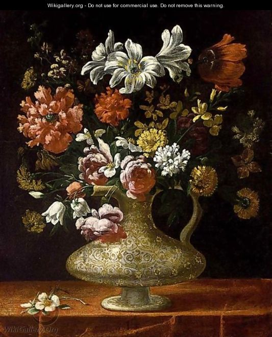 A Still Life With Roses Peonies Lilies And Other Flowers