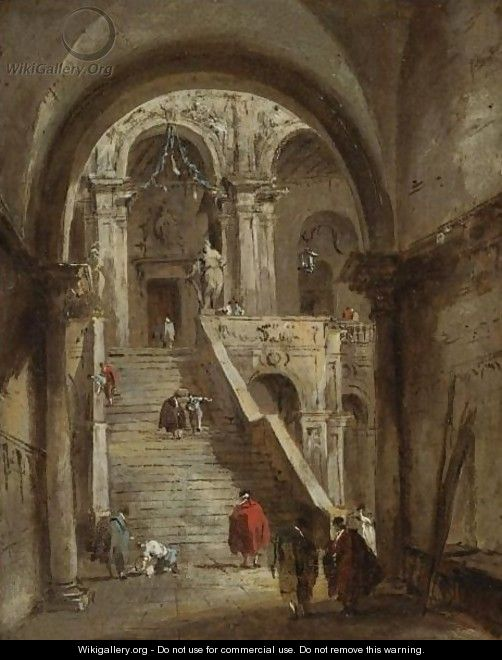 Francesco Guardi: Venice, The Courtyard Of The Palazzo Ducale With The Scala