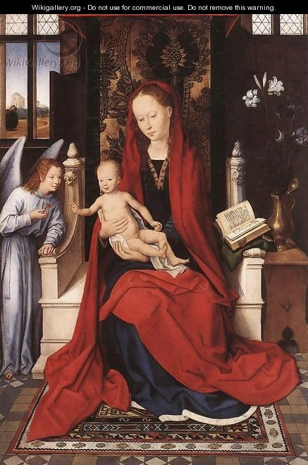 Virgin Enthroned with Child and Angel c. 1480 - Hans Memling