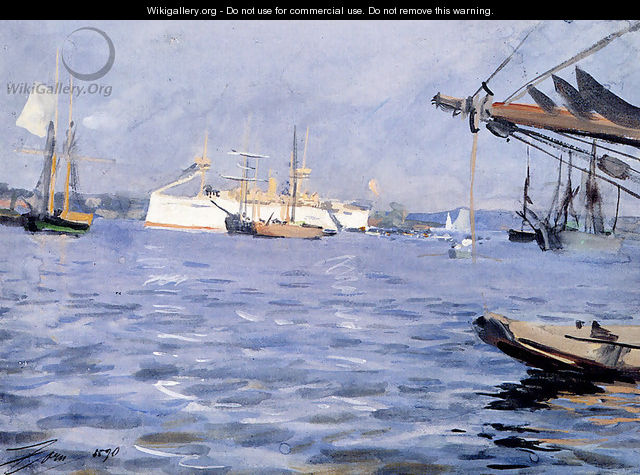 The Battleship Baltimore In Stockholm Harbor - Anders Zorn