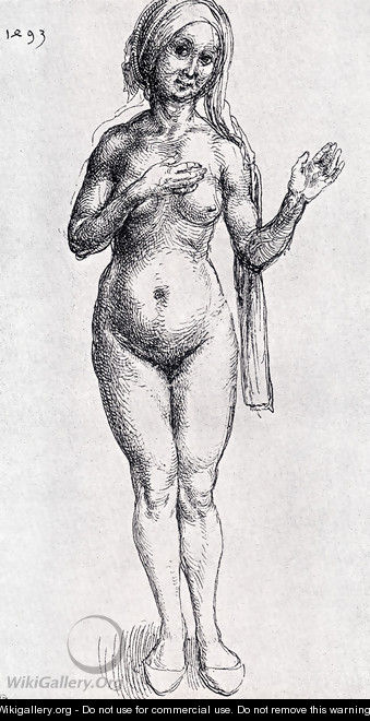 Female Nude (With Headcloth And Slippers) - Albrecht Durer