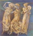 Three Female Figures Dancing And Playing - Sir Edward Coley Burne-Jones
