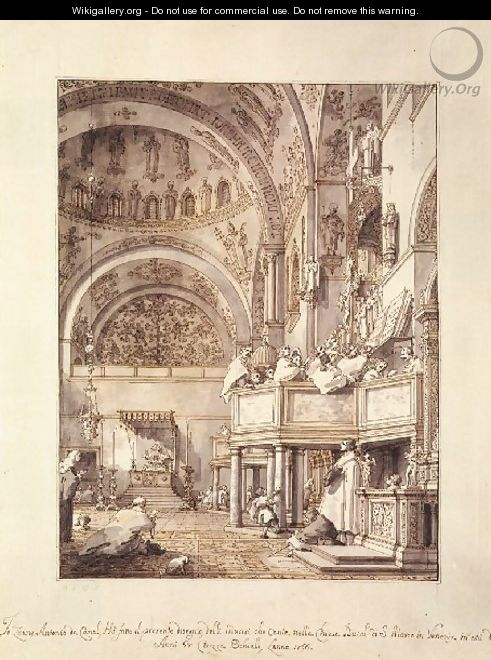 San Marco The Crossing And North Transept With Musicians Singing - (Giovanni Antonio Canal) Canaletto