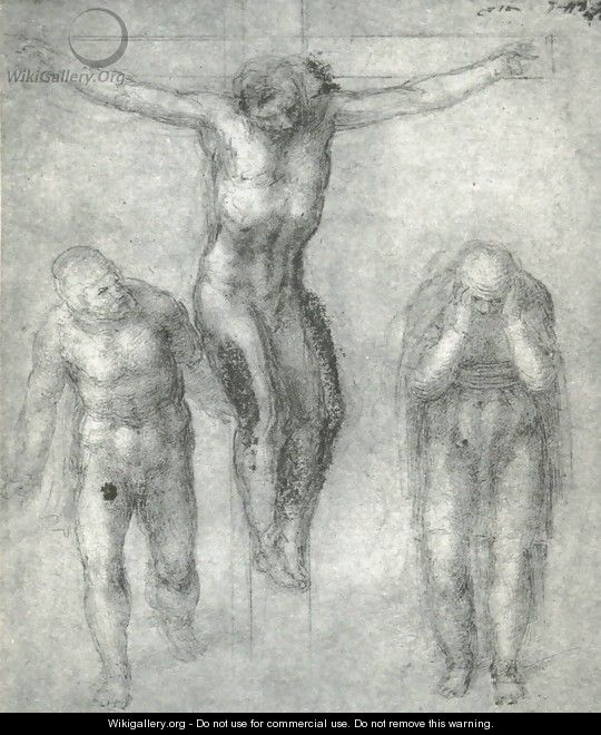 Study For Christ On The Cross With Mourners - Michelangelo Buonarroti