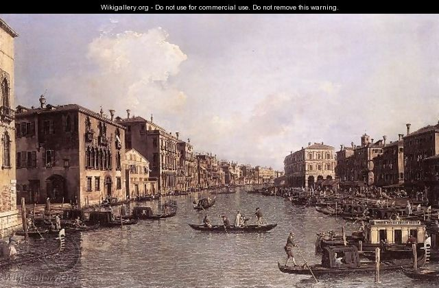 Grand Canal Looking South East From The Campo Santa Sophia To The Rialto Bridge - (Giovanni Antonio Canal) Canaletto
