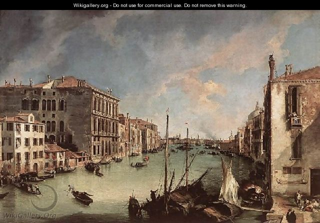 Grand Canal Looking East From The Campo San Vio - (Giovanni Antonio Canal) Canaletto