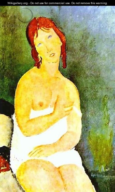Red Haired Young Woman In Chemise - Amedeo Modigliani