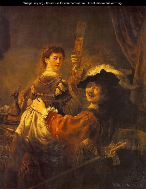 Rembrandt and Saskia in the Scene of the Prodigal Son in the Tavern c. 1635 - Rembrandt Van Rijn