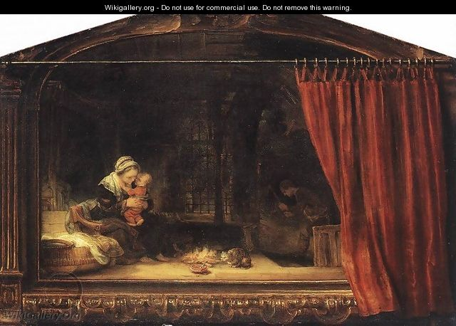 The Holy Family with a Curtain 1646 - Rembrandt Van Rijn