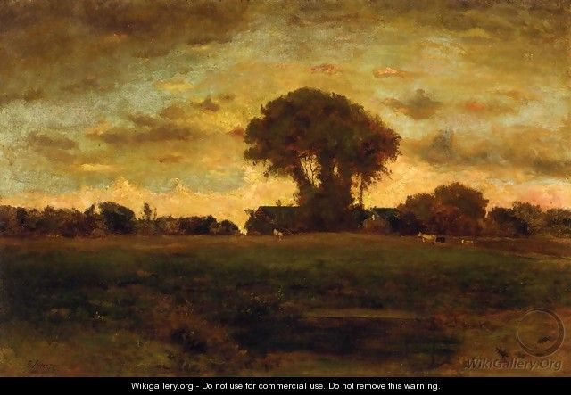 Sunset On A Meadow - George Inness