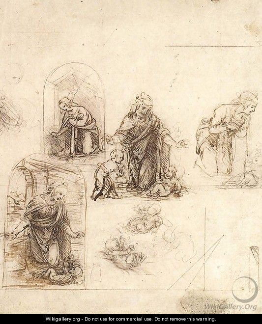 Studies For A Nativity - Leonardo Da Vinci