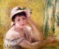 Woman With A Straw Hat - Pierre Auguste Renoir