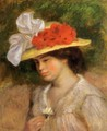 Woman In A Flowered Hat - Pierre Auguste Renoir