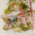 Woman And Child In A Garden (sketch) - Pierre Auguste Renoir
