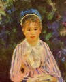Young Woman In A Blue And Pink Striped Shirt - Pierre Auguste Renoir