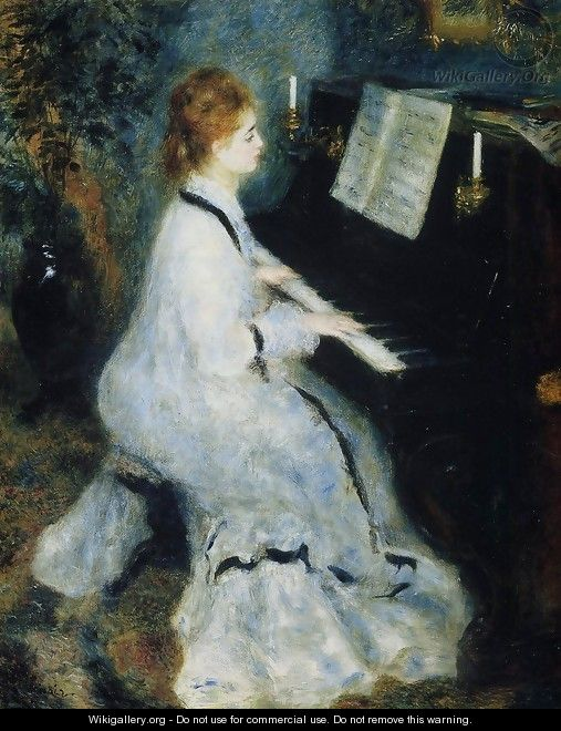 Young Woman At The Piano - Pierre Auguste Renoir