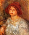 Young Girl Wearing A Red Hat - Pierre Auguste Renoir