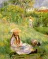 Young Girl In The Garden At Mezy - Pierre Auguste Renoir