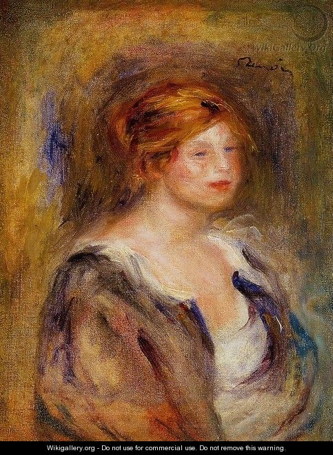 Young Girl In Blue Aka Head Of A Blond Woman - Pierre Auguste Renoir