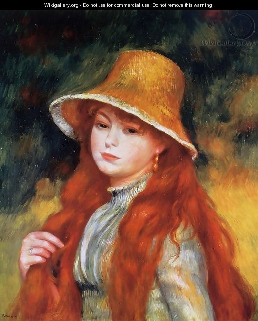 Young Girl In A Straw Hat - Pierre Auguste Renoir