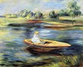 Young Woman Seated In A Rowboat - Pierre Auguste Renoir