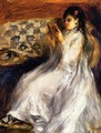 Young Woman In White Reading - Pierre Auguste Renoir