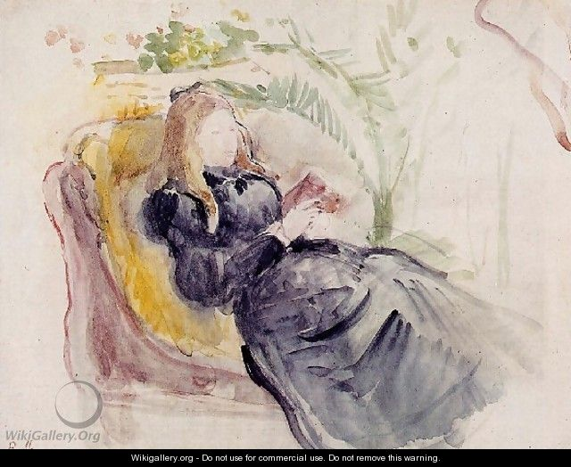 Julie Manet Reading In A Chaise Lounge - Berthe Morisot