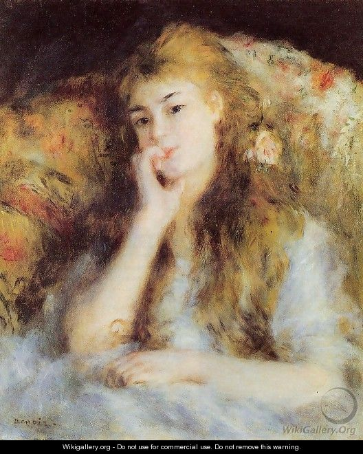 The Thinker Aka Seated Young Woman - Pierre Auguste Renoir