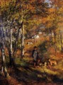 The Painter Jules Le Coeur Walking His Dogs In The Forest Of Fontainebleau - Pierre Auguste Renoir
