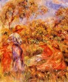 Three Women And Child In A Landscape - Pierre Auguste Renoir