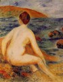 Nude Bather Seated By The Sea - Pierre Auguste Renoir
