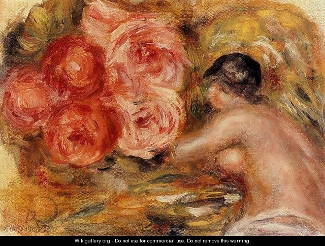 Roses And Study Of Gabrielle - Pierre Auguste Renoir