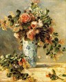 Roses And Jasmine In A Delft Vase - Pierre Auguste Renoir