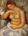 Seated Nude With A Bouquet - Pierre Auguste Renoir