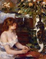 Girl And Cat - Pierre Auguste Renoir