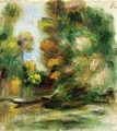 Banks Of The River A Boat - Pierre Auguste Renoir